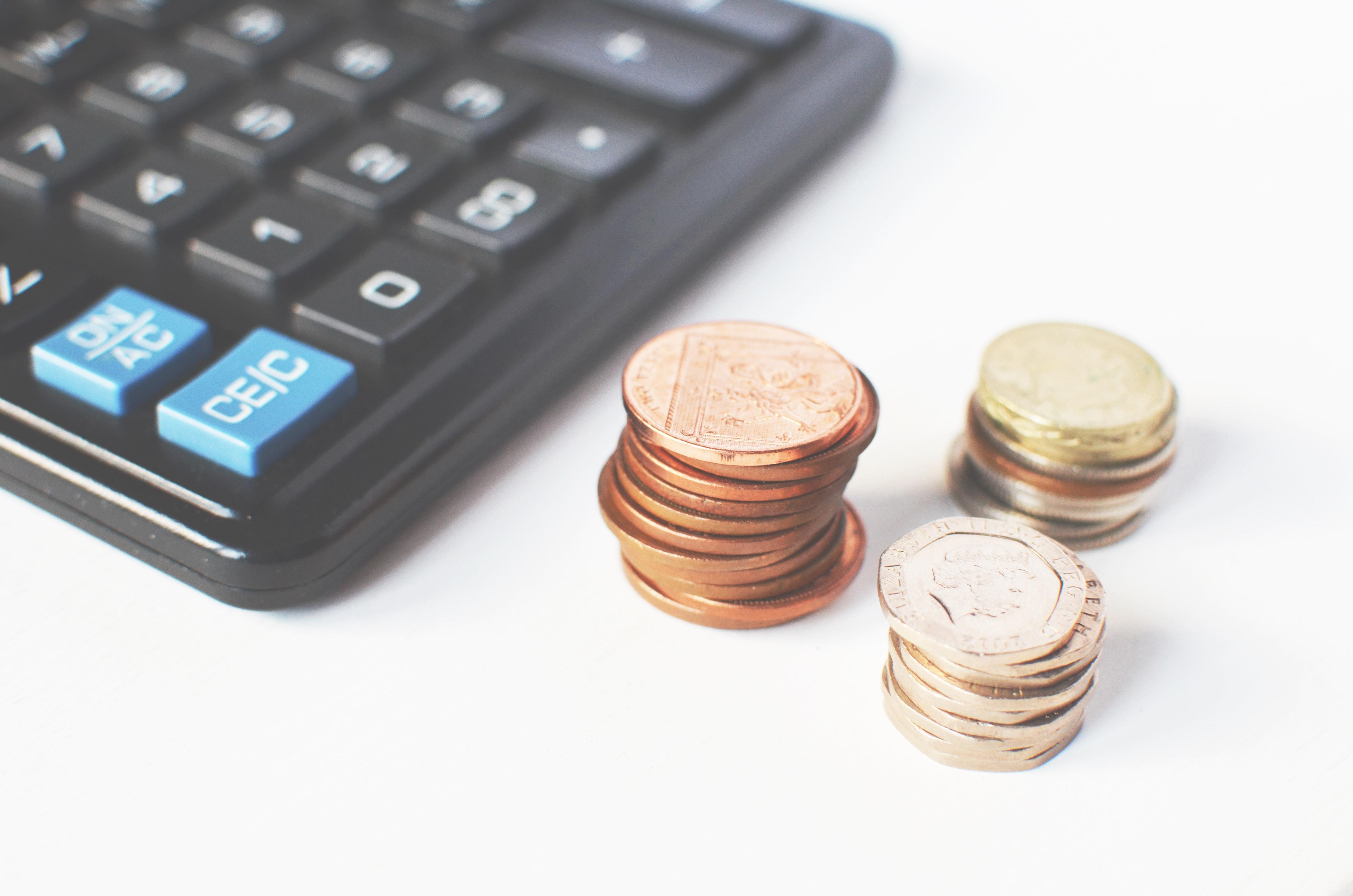En kalkulator og mynter